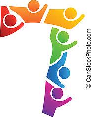 logo, teamwork, nummerer 7