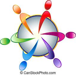 logo, teamwork, samfund