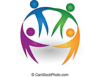 logo, teamwork, sammen, folk