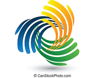 logo, vektor, forbinde, hænder