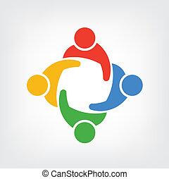 logo, vektor, gruppe, folk