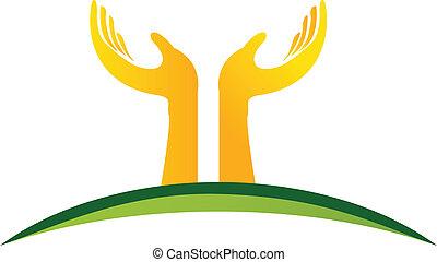 logo, vektor, hænder