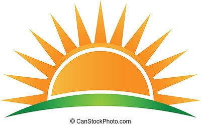 logo, vektor, horisont, sol