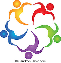 logo, vektor, teamwork, hjælper