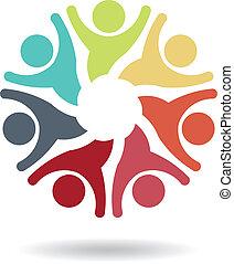 logo, vektor, teamwork, optimistiske, 7