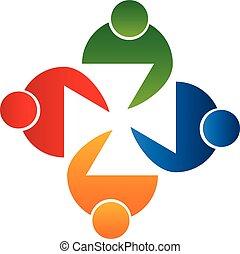 logo, vektor, træffes folk, teamwork