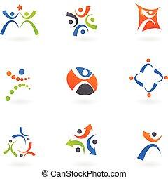 logos, 2, menneske, iconerne