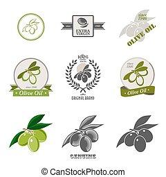 logos, sæt, elements., etiketter, konstruktion, oliven olie