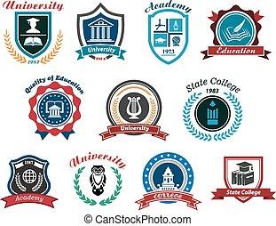 logos, sæt, universitet, akademi, emblems, læreanstalt, eller