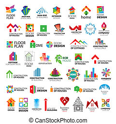 logos, vektor, samling, forbedring, konstruktion, hjem
