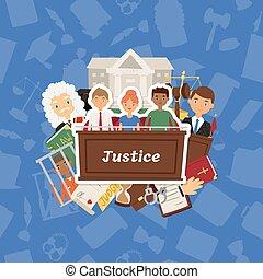 lov bane, courthouse, folk, retfærdighed, juridiske, karakter, lovlig, vektor, illustration, baggrund, fængsel, dommer, forbryder, bedømmelse, bagtæppe