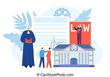 lov, dommer, retfærdighed, vektor, sagfører, person, illustration., advokat, begreb, karakter, gavel., bedømmelse, lovlig, gårdsplads, arbejde, lejlighed