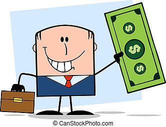 lovforslag, dollar, holde, forretningsmand