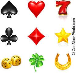 luck, spil, sæt, ikon
