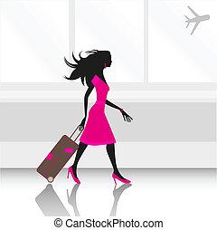lufthavn, kvinde