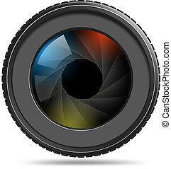 lukker, linse kamera, fotografi