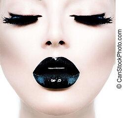 lushes, mode, skønhed, oppe still, længe, sort, model, pige