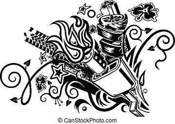 lyddæmper, tatovering, eksplosion