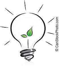 lys, eco-friendly, pære, kimplante
