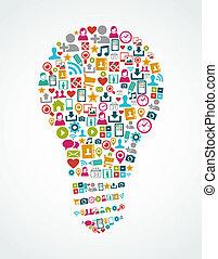 lys, eps10, iconerne, medier, ide, isoleret, sociale, pære, file.