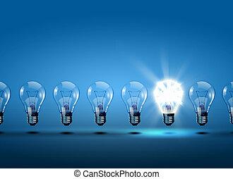 lys, række, pærer