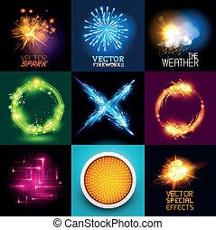 lys, vektor, effekter, samling