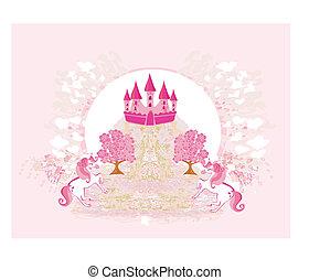lyserød, abstrakt, enhjørninger, slot, image