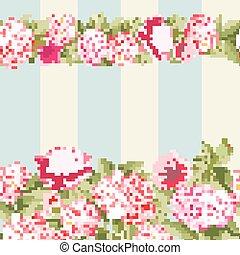 lyserød blomstr, grænse, tile.
