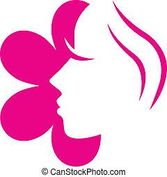 lyserød blomstr, ), (, isoleret, zeseed, kvindelig, hvid, ikon