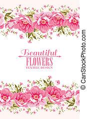 lyserød blomstr, tekst, dekoration, label., udsmykket