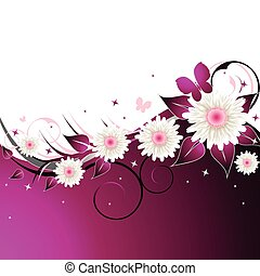 lyserød, blomstrede, abstrakt, baggrund