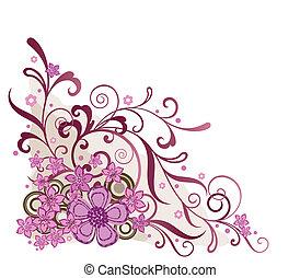 lyserød, blomstrede, hjørne, formgiv element