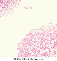 lyserød, blomstrede, ramme, vektor, firkantet