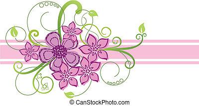 lyserød, blomstret grænse, konstruktion