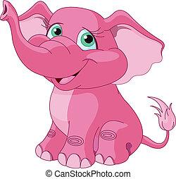 lyserød, elefant