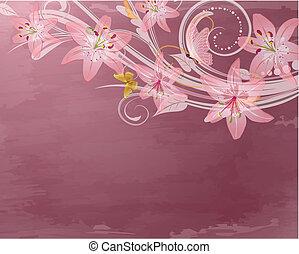 lyserød, fantasien, blomster, retro