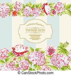 lyserød, flowers., etikette