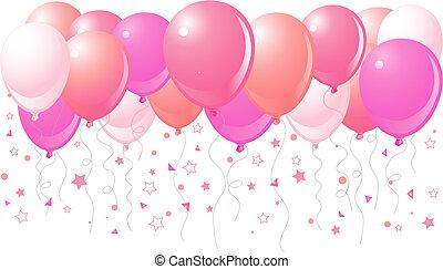 lyserød, flyve, balloner, oppe