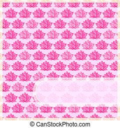 lyserød, glatte, blomst, card, etikette