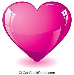 lyserød, hjerte, glitre