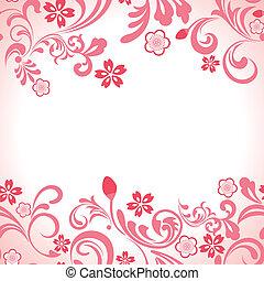 lyserød, kirsebær, ramme, seamless, blomstre