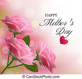 lyserød, smukke, baggrund, mor, day., flowers., vector., ferie