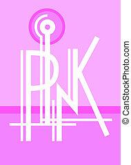 lyserød, tekstning, moderne, original, hånd, komposition