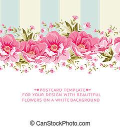 lyserød, tile., blomst, grænse, udsmykket