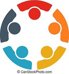 mål, arbejder, nå, sammen, personer, fem, teamwork