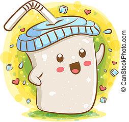 mælk, tapioca, cartoon, kawaii, te, karakter