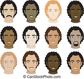 mænd, afro, curly, ansigter
