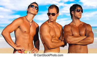 mænd, strand, slapp