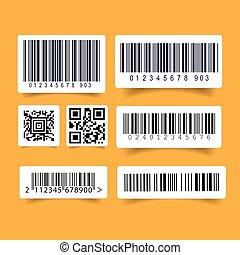 mærkaten, barcode, sæt, etikette