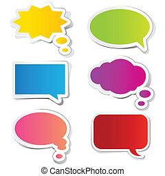 mærkaten, boble, snakke